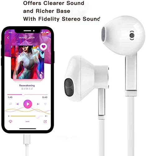 [Apple MFi Certified] Apple Earbuds with Lightning Connector(Built-in Microphone & Volume Control) In-Ear Stereo Headphones Headset Compatible with iPhone SE/11/XR/XS/7/7 Plus/8/8Plus – All iOS System 41nMBGHy8cL