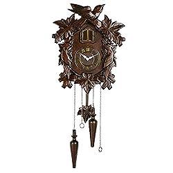 Quartz Cuckoo Clock - Handcrafted Wood Cuckoo Clock,Real Wood - Adjustable Volume & Night Sensor
