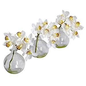 Nearly Natural 4797 Cymbidium with Vase Silk Flower Arrangement, White, Set of 3 102