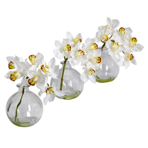 White flower arrangement amazon nearly natural 4797 cymbidium with vase silk flower arrangement white set of 3 mightylinksfo Image collections