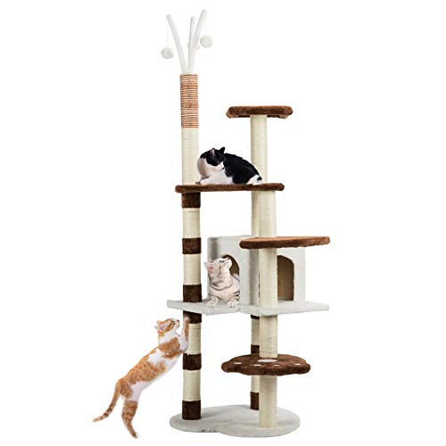 CO-Z 65'' 5-Level Flannelette-Covered Cat Tree Chipboard Construction with Hemp-Rope-Wrapped Scratching Post and Hideaway Deck Platform w/Stable Base