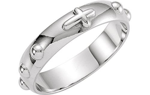 4.75mm Sterling Silver Cross Rosary Ring, Size 7 by The Men's Jewelry Store