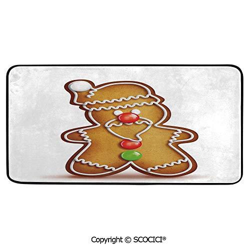 (Rectangular Area Rug Super Soft Living Room Bedroom Carpet Rectangle Mat, Black Edging, Washable,Gingerbread Man,Whimsical Cartoon Santa Gingerbread Man with Bonbon,39
