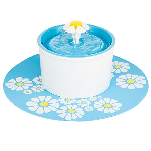 Beacon Pet Water Fountain Cat with Pet Drinking Mat Flower Water Fountain Drinking Bowl 1.6L Automatic Pet Water Fountain Pet Drinking Fountains cat Drinking Water Fountain with Silicone Mat