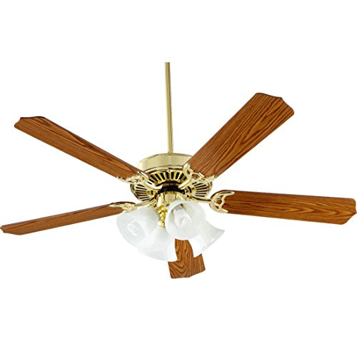 Quorum International 77525-8102 Capri V 52-Inch 4 Light CFL Ceiling Fan, Polished Brass Finish with Faux Alabaster Glass Shades and Reversible Blades (Polished Brass Arts)