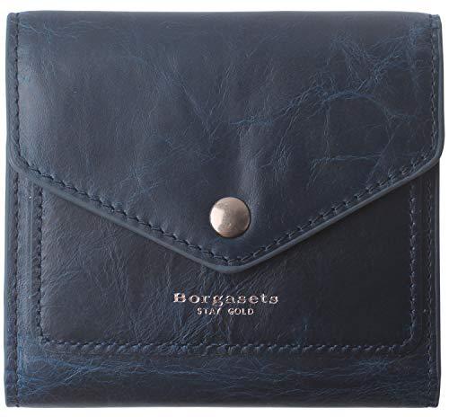 (Borgasets Women's RFID Blocking Small Compact Bifold Leather Pocket Wallet Ladies Mini Purse Oil Wax Blue)