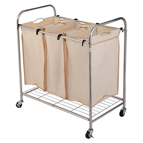 Durable Oxford Fabric 3-Bag Laundry Sorter Rolling Cart Hamper Organizer Beige 4 Wheels #554
