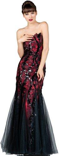 Meier Women's Strapless Sequin Mermaid Black Lace Gown