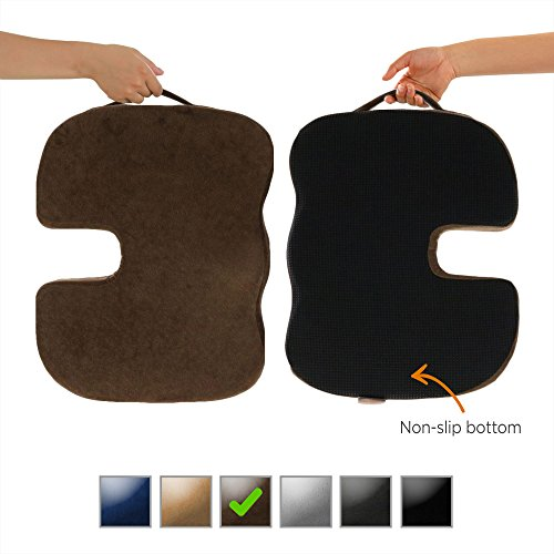 Dr. Ergo | Chiropractor Grade | Firm Orthopedic Memory Foam Seat Cushion | Coccyx, Tailbone and Sciatica Pain Relief | Non Slip Back Support Pillow for Office Chair, Car Seat and Wheelchair - Brown - Ergo Seat