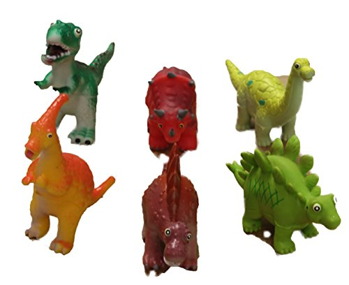 Set of 6 Assorted 4 Inch Soft Rubber Cartoon Dinosaur Toys ()