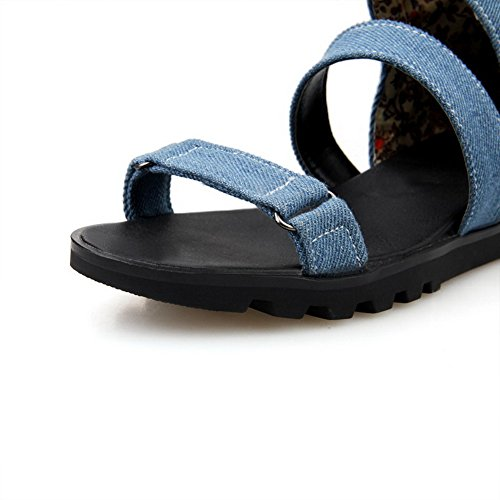 Sandals Toe Blue Solid AllhqFashion Material On Pull Open Womens Soft Low Heels SOnUgx