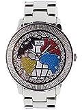 Softech - Hommes - Montre motif carte du monde rouge blanc bleu cadran diamant argent design rétro avec pile supplémentaire