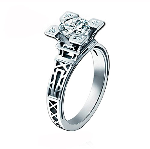 Acefeel 18K White Gold Eiffel Tower Cubic Zirconia Wedding Engagement Ring    5.5 (Ring Eiffel Tower)