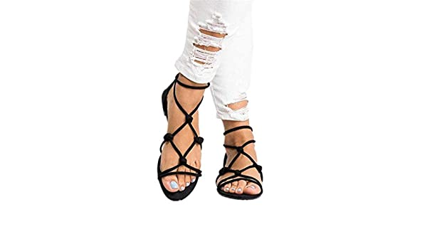 09fa92388ff Amazon.com  sweetnice Women Shoes Womens Gladiator Strappy Flat Open Toe Lace  Up Strap Ankle Wrap Summer Beach Thongs Flat Sandals  Clothing