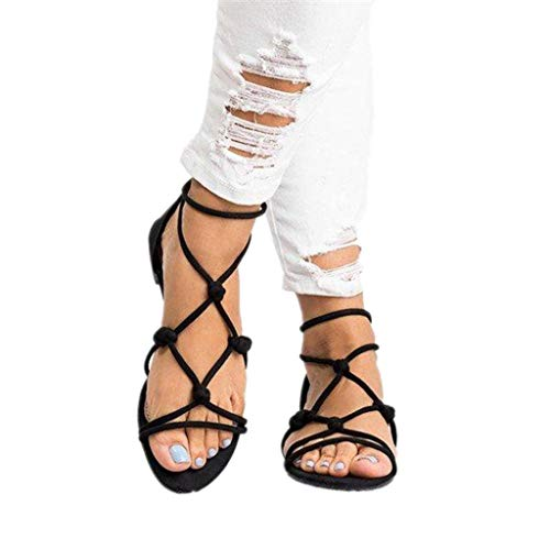 sweetnice Women Shoes Womens Gladiator Strappy Flat Open Toe Lace Up Strap Ankle Wrap Summer Beach Thongs Flat Sandals (US:9.5, Black) ()