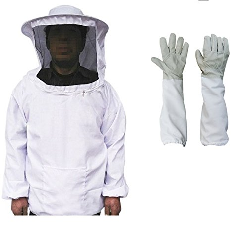 New Beekeeping Bee Keeping Suit Jacket Gloves Pull Over Smock with Veil+Gloves