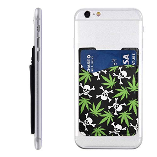 (Cannabis Leafs with Skulls Crossbones Phone Card Holder Silicone 3M Adhesive Stick-on Credit Card Id Cash Wallet Ultra Slim Phone Pocket)