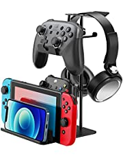 $22 » Headphone Stand Game Controller Holder for Desk - Game pad Storage Organizer with Solid Base and Aluminum Supporting Bar - Compatible for Headphone, Switch, Controller, Cell Phone(Black)