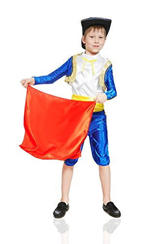 Gold Epaulettes Costume (Kids Boys Spanish Matador Costume Bullfighter Suit Torero Outfit Toreador Dress Up (3-6 years, Blue/White))