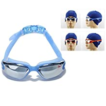 Itian Swimming Goggles Mirrored Anti Fog UV Protection - Swim Goggles - Quick Adjusting Silicone Head Strap Flexible Nose Bridge Tinted Crystal Clear Lenses Comfortable For Men Women Adult Youth (Blue)