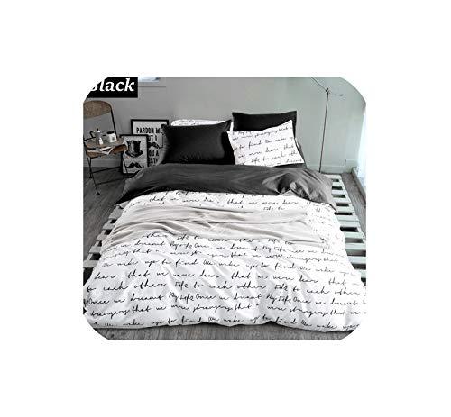 - LOVE-JING Letter Printing Duvet Cover Sets King Activity Bedding Sets Ru USA Size,Quilt Cover Sheet Set Bedroom Bedding Bed Linen Grey,Black,Ru Single 4Pcs