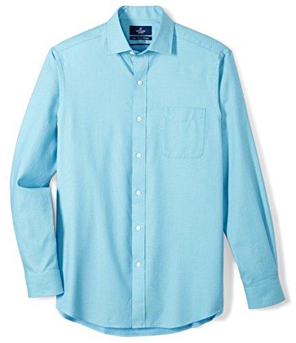 BUTTONED DOWN Men's Classic Fit Supima Cotton Spread-Collar Pattern Dress Casual Shirt, Aqua/Blue Small Check, 16-16.5