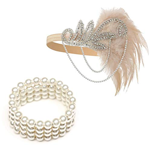 1920's Flapper Headbands Great Gatsby Inspired 20s Headpiece Flapper Costume Accessories (Champagne)]()