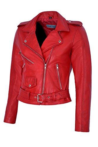Haute Mesdames Star Ajusté Taille Mb124 Réel Zipper Cuir Red En Brando Biker Jacket Style Bright ZgRqvwv