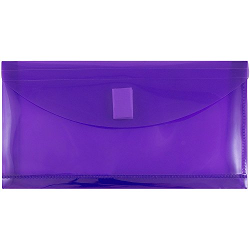 JAM PAPER Plastic Expansion Envelopes with Hook & Loop Closure - #10 Booklet Wallet - 5 1/4 x 10 with 1 Inch Expansion - Purple - 12/Pack