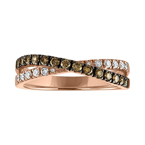 Sweet Treasures VSSR-CGRL110 14K Rose Gold Natural 1/2cttw Round Cut White (SI1 -SI2) & Champagne Diamond (SI1 -SI2) Ring Size 7 (7, - Champagne Natural Ring 14k Diamond