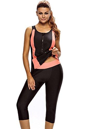 Fortuning's JDS Women Contrast Orange Accent Black Front Zip Wetsuit Two Piece Swimsuit