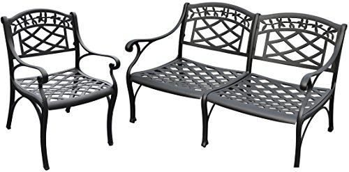 Cheap Crosley Furniture Sedona 2-Piece Solid-Cast Aluminum Outdoor Conversation Set with Loveseat and Club Chair – Black