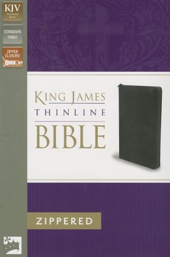KJV, Thinline Zippered Collection Bible, Bonded Leather, Black, Red Letter Edition - Leather Collection Bonded