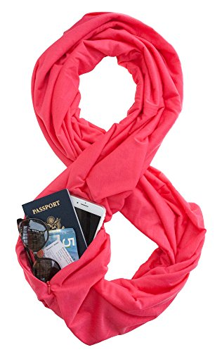 TRAVEL SCARF by WAYPOINT GOODS // Infinity Scarf w/Secret Hidden Zipper Pocket (Hibiscus)