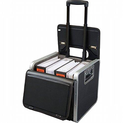 Alassio Aktenkoffer für 5 A4-Ordner; Trolley zum Transport schwerer Lasten; 2 seitliche Schwerlastgriffe; robustes Trolleysystem in Schwarz; Lederimitat