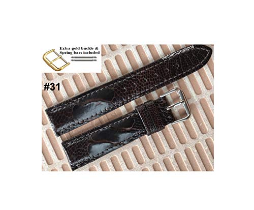 vietnamcreations Genuine CROCODILE Skin Leather Watch Strap Band for men Width 18mm, 20mm, 22mm, 24mm HANDMADE Special gift (#31 Dark Brown Ostrich, 20mm)