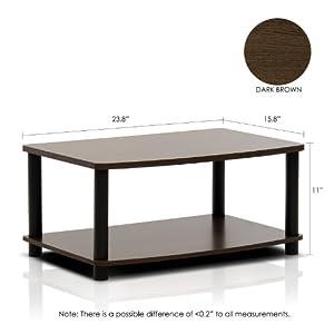 FURINNO Turn-N-Tube No Tools 2-Tier Elevated TV Stand, Dark Brown/Black