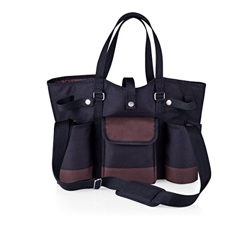 LEGACY - a Picnic Time Brand Wine Country Tote with Cheese Service and Corkscrew, Black