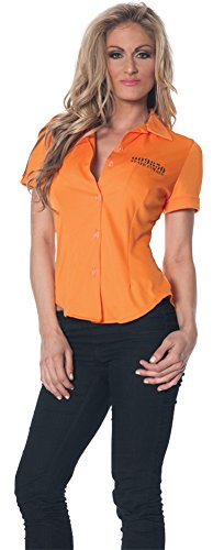 Womens Halloween Costume- Prisoner Fitted Shirt Adult Costume Xlarge