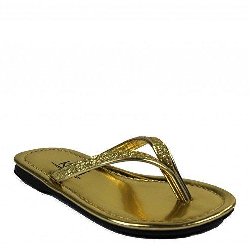 Kali Footwear Girl's Focus Jr. Patent Flip Flop Flat Glitter Sandals, Gold 2 ()
