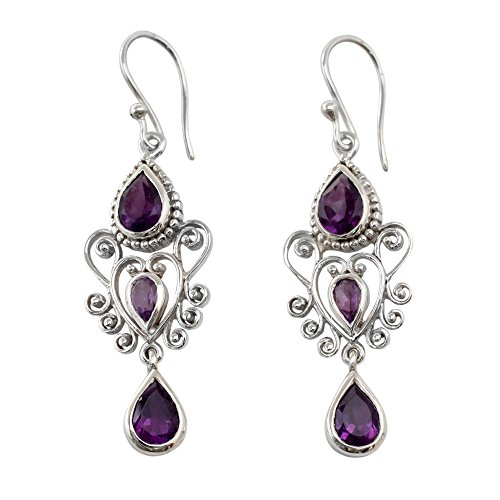 NOVICA Amethyst .925 Sterling Silver Dangle Earrings 'Enchanted Princess'