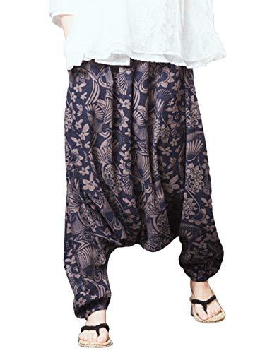 Lanterne Trouser 2 Pantalon Unisexe t en Elastique Pantalon Taille Vrac Confortable Fonc Zhhlinyuan Coton Baggy Lin Harem Bleu 1tBwwR