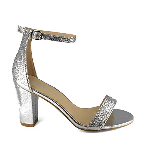 GottaBe Shoes Women's Open Toe Crystal Rhinestone Ankle Strappy Block Medium Heel Sandal (7.5, Silver)