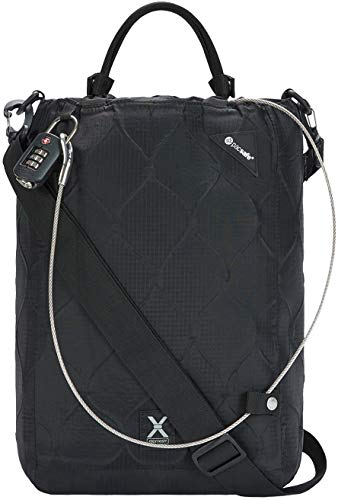 Pacsafe Travelsafe X15-16 Liter Portable Lockbox for Travel (Flat Design) -Fits 15 inch Laptop incl. TSA Accepted Combination Lock With Patented, Stainless Steel Mesh (Black), One Size