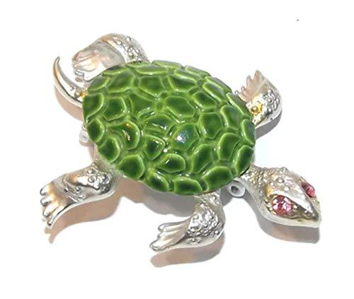 Vintage Silver Tone Sea Turtle Brooch Pin w/Porcelain Shell & Rhinestone Eyes