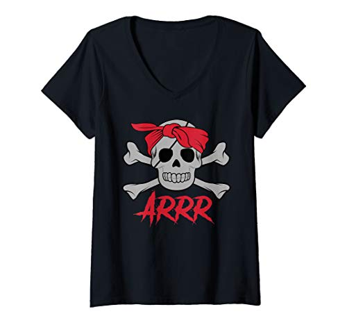 Womens PIRATE DEAD SKULL wih eye patch Halloween Design V-Neck T-Shirt -