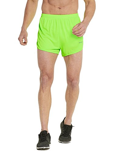 Baleaf Men's Quick-Dry Lightweight Pace Running Shorts Neon Green Size L