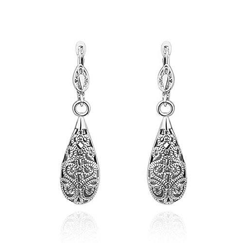 Corykeyes Vintage Filigree Heart Teardrop Dangle Drop Lever-Back Earrings (Silver Plated)