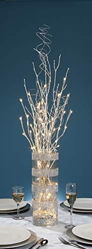 David Tutera Lighted Branch - Silver Glitter - LED - 27 inches (Silver Lighted Branches)