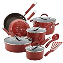 Premium Superior Quality Rachael Ray Cucina Porcelain Enamel Nonstick 12-Piece Cookware Set Cranberry Red